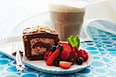 Chocolate roulade with berries