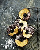 Apple rings with chocolate glaze