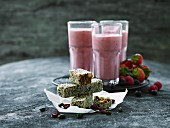 Energy bars and strawberry smoothies