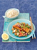 Grilled salmon with rhubarb, spring onions and chilli