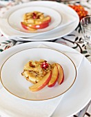 Chanterelle pancake with apple wedges