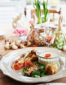 An appetiser platter on a table laid for Easter
