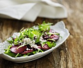 Beetroot carpaccio with rocket and horseradish
