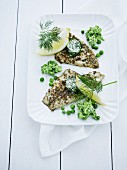 Fish fill it with mustard seeds, dill butter and peas