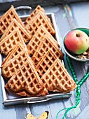 Heart-shaped apple and spelt waffles