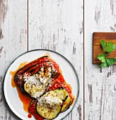 Aubergine lasagna with tomatoes and Parmesan (low carb)