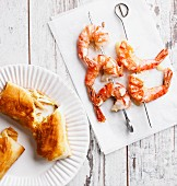 Prawn skewers and vegetables strudel (low carb)