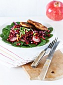 Red cabbage salad with a Viennese escalope