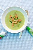 Pea soup with wasabi and smoked salmon