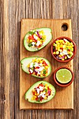 Stuffed avocados with corn salsa