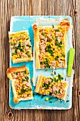 Puff pastry tart with tuna and sweetcorn
