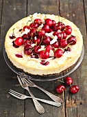 Ricotta cake with cherries and coconut