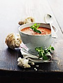 Tomato soup with basil and ciabatta