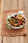 Mixed marinated olives with garlic, , mustard and chilli
