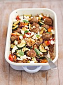 Baked meatballs with buckwheat and vegetables