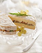 Soft cheese filled with dried fruits and nuts
