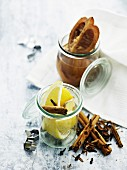 Salted lemons, cloves and cinnamon sticks