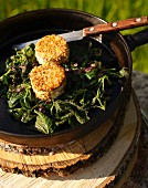 Stinging nettle with breaded goat's cheese