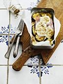 Courgette bake with ham and mozzarella