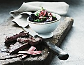 Venison sirloin steak with roasted beetroot