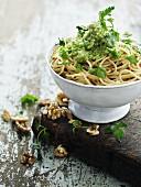 Spaghetti with a herb and walnut pesto