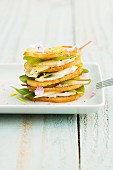 Mille feuilles with pears and Camembert