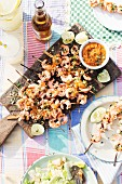 Grilled prawn skewers with lime, coriander and pineapple