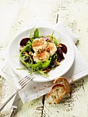 Beetroot salad with goat's cheese, walnuts and rocket