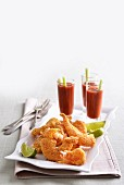 Crispy prawns in polenta batter with Bloody Mary dippers
