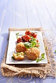 Arancini with roasted tomatoes and basil