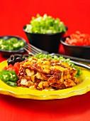 Gratinated enchiladas with chicken