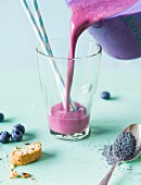 Blueberry Sky: a smoothie made with blueberries, vanilla ice cream and poppy seeds