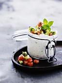 Ricotta cream with kiwi and melon