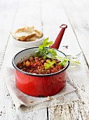 Oriental chilli con carne with chickpeas