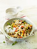 Couscous with vegetables and sour cream