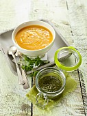 Pumpkin soup with parsley pesto