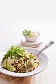 Nutty wild rice salad with feta cream