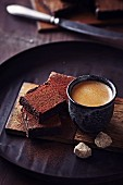 Brownies, an espresso and sugar cubes