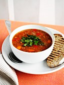 Lentil soup with grilled bread