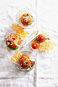 Tomatoes with a quinoa filling and Parmesan wafers