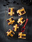 Blueberry and cherry lattice tart slices