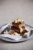 Caramel slices with salted caramel popcorn