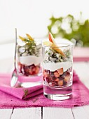 Beetroot salad with herring hash