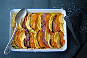 Winter vegetable bake in a baking dish