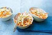 Raw vegetable salad with parsnips, carrots, winter raddishs and nuts