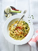 Spaghetti aglio e olio (spaghetti, oil, garlic and chopped chilli)
