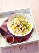 Macaroni with a cheese and walnut sauce