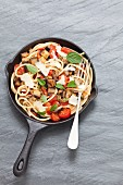 Bucatini with aubergines and tomatoes