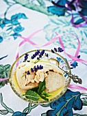 Liquorice ice cream with lavender flowers