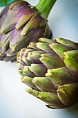 Two purple artichokes on a light surface